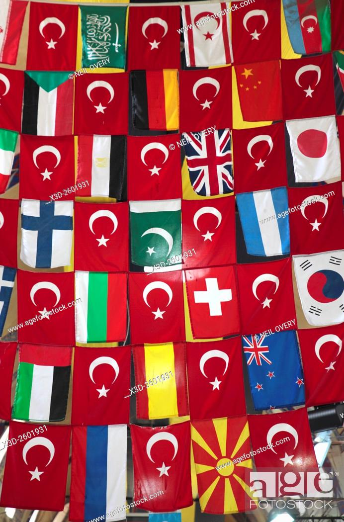 Stock Photo: Flags in the Interior of Grand Bazaar, Istanbul, Turkey.