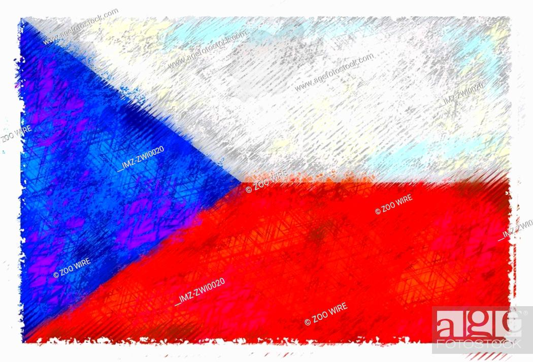 Stock Photo: Drawing of the flag of Czech Republic.