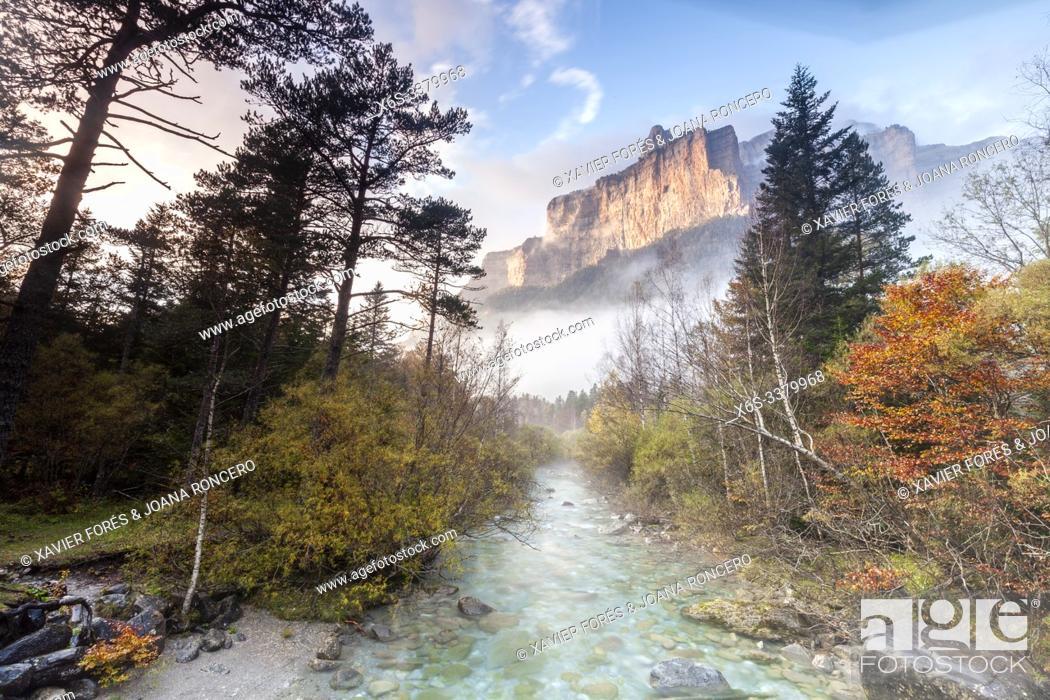 Stock Photo: Tozal del Mallo peak and Arazas river, Ordesa Valley, National Park of Ordesa and Monte Perdido, Huesca, Spain.