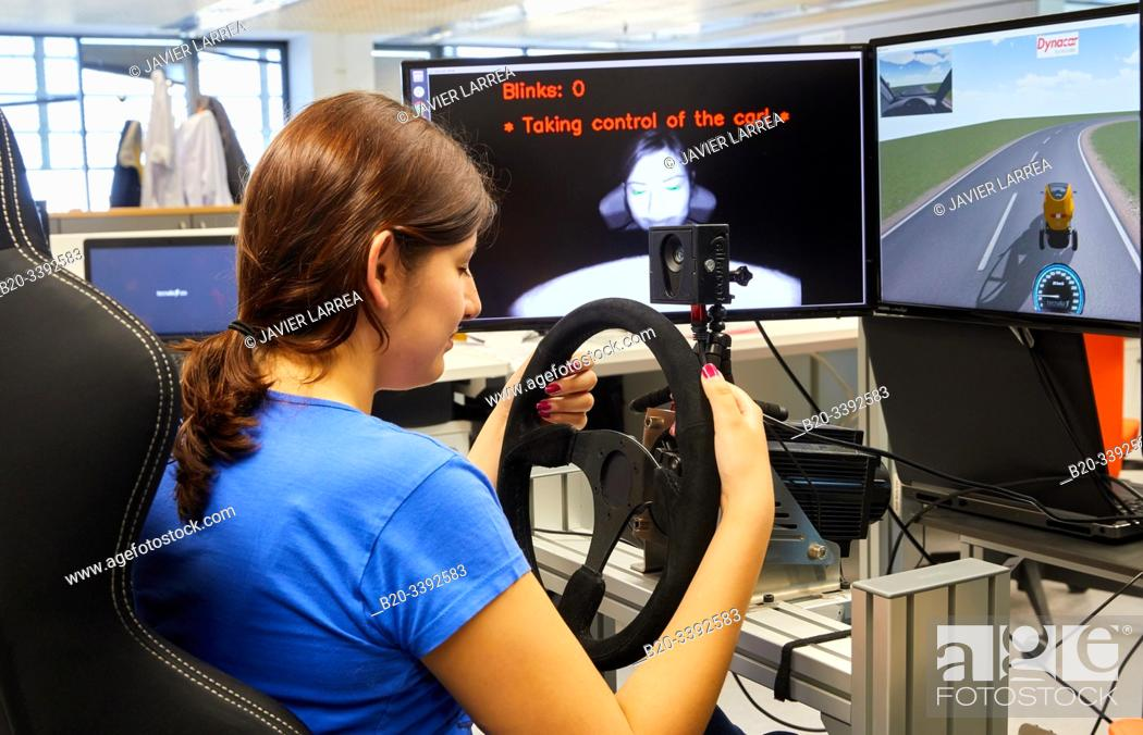 Stock Photo: Automated video driving with sleepiness, Automotive Industry, Technology Centre, Tecnalia Research & Innovation, Derio, Bizkaia, Basque Country, Spain.