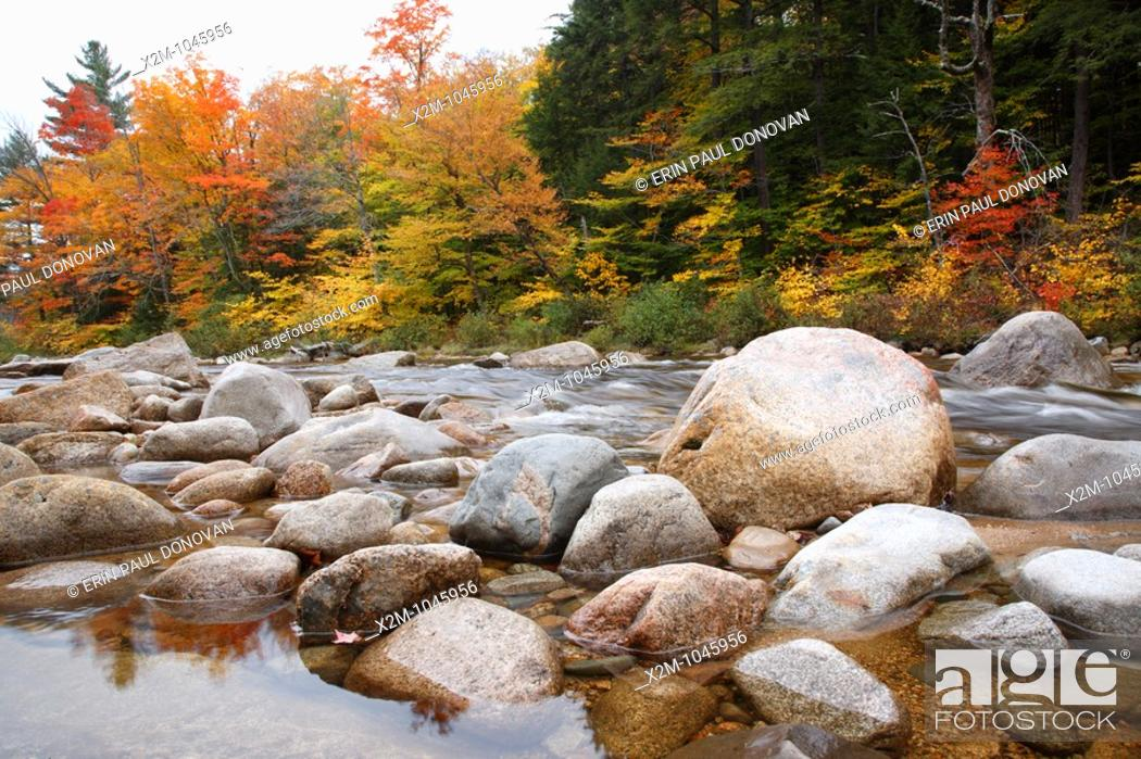 Stock Photo: East Branch of the Pemigewasset River during the autumn months in Lincoln, New Hampshire USA.