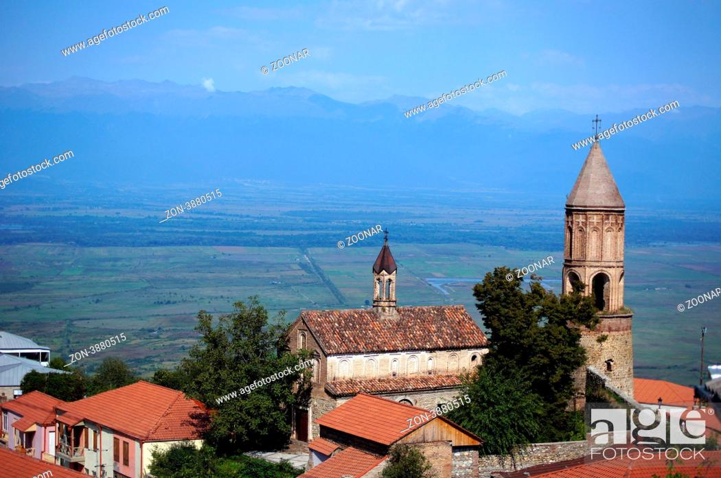 Stock Photo: historical medieval city of Signagi in Kakheti region, Republic of Georgia, close to Tbilisi.