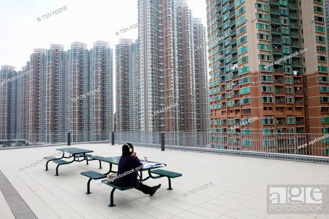 Stock Photo: hirise buildings in Hongkong, China.