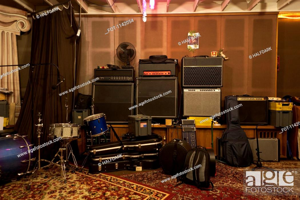 Stock Photo: Musical instruments and audio equipment in a sound studio.
