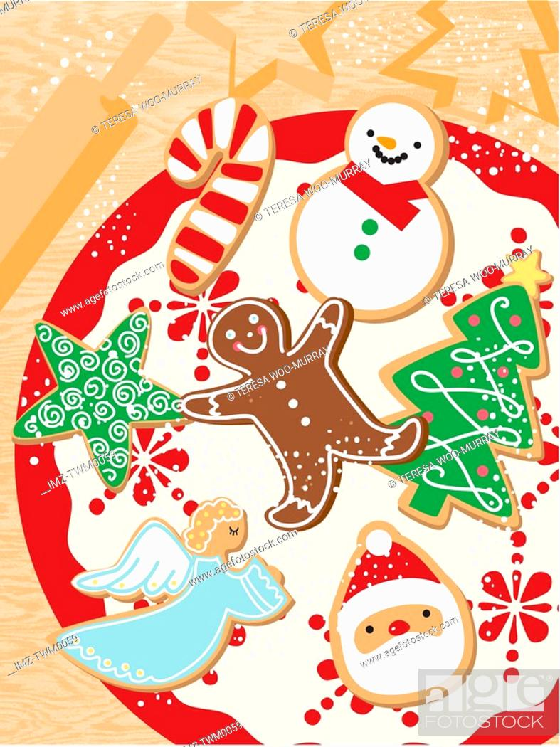 Stock Photo: An illustration of Christmas themes cookies.