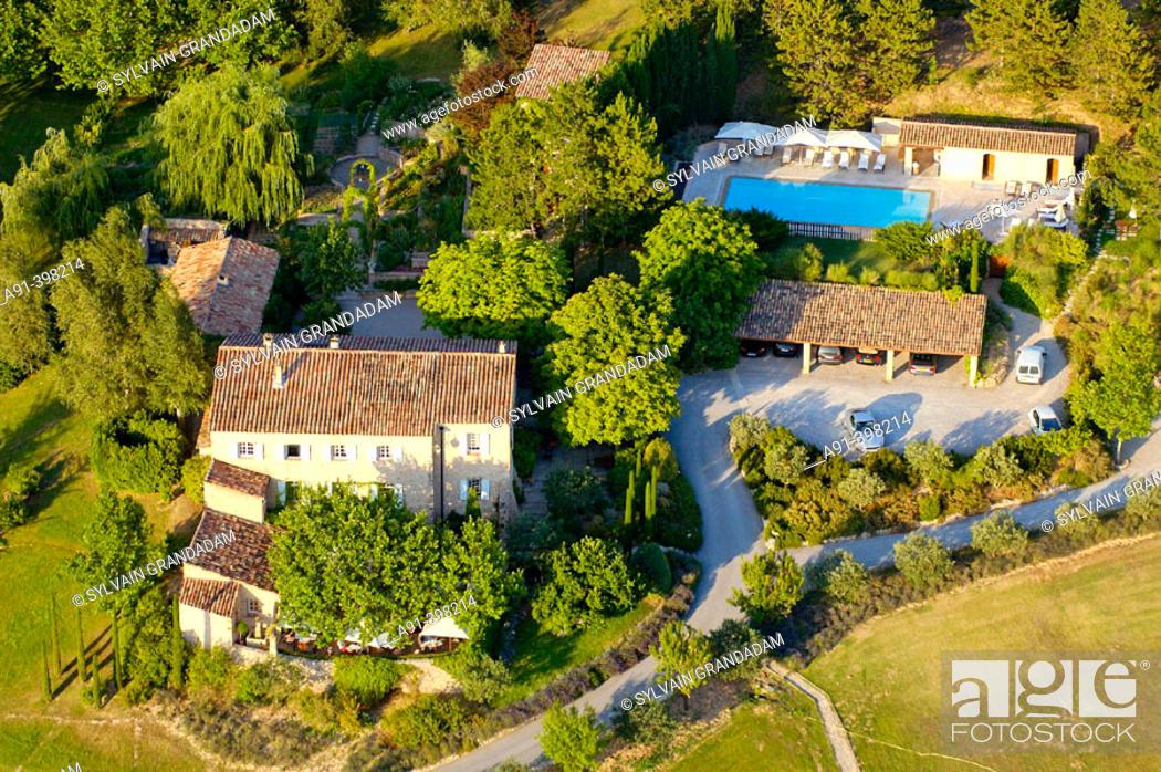 Aerial of Alain Ducasse\'s \'La Bastide de Moustiers\' hotel and ...