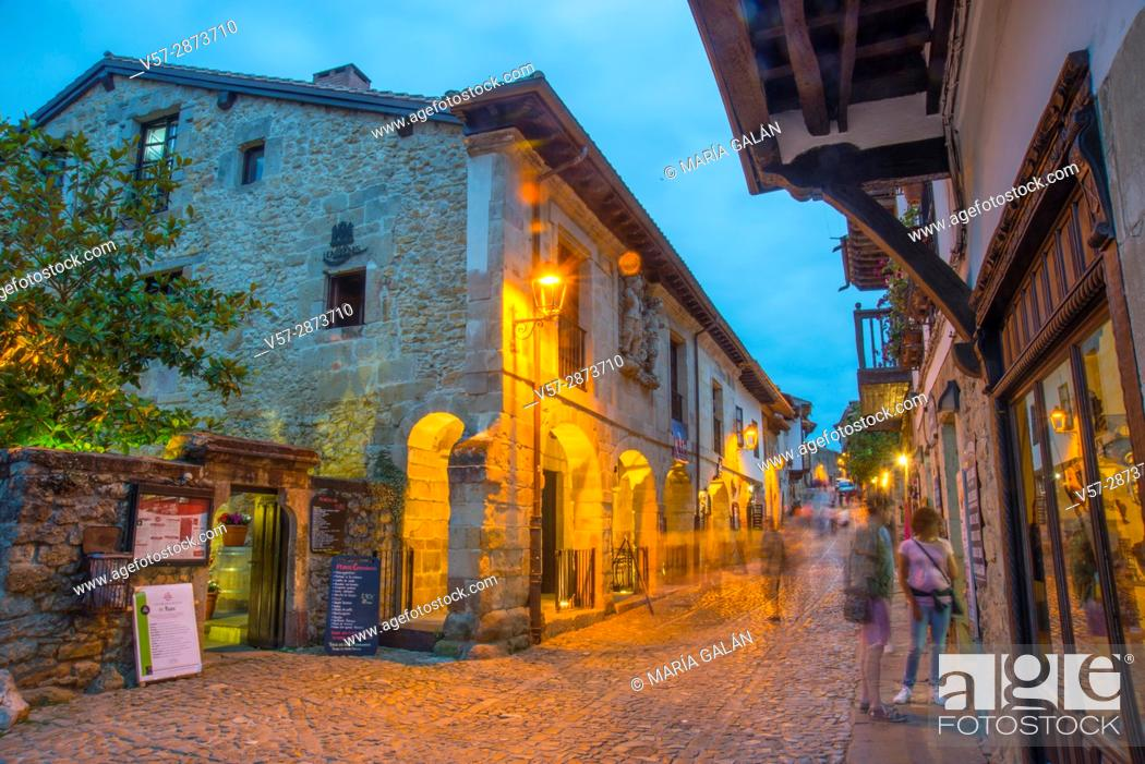 Stock Photo: Main street, night view. Santillana del Mar, Cantabria, Spain.