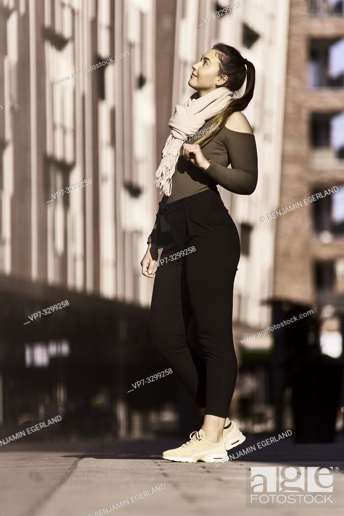 Stock Photo: woman in city, in Hamburg, Germany.