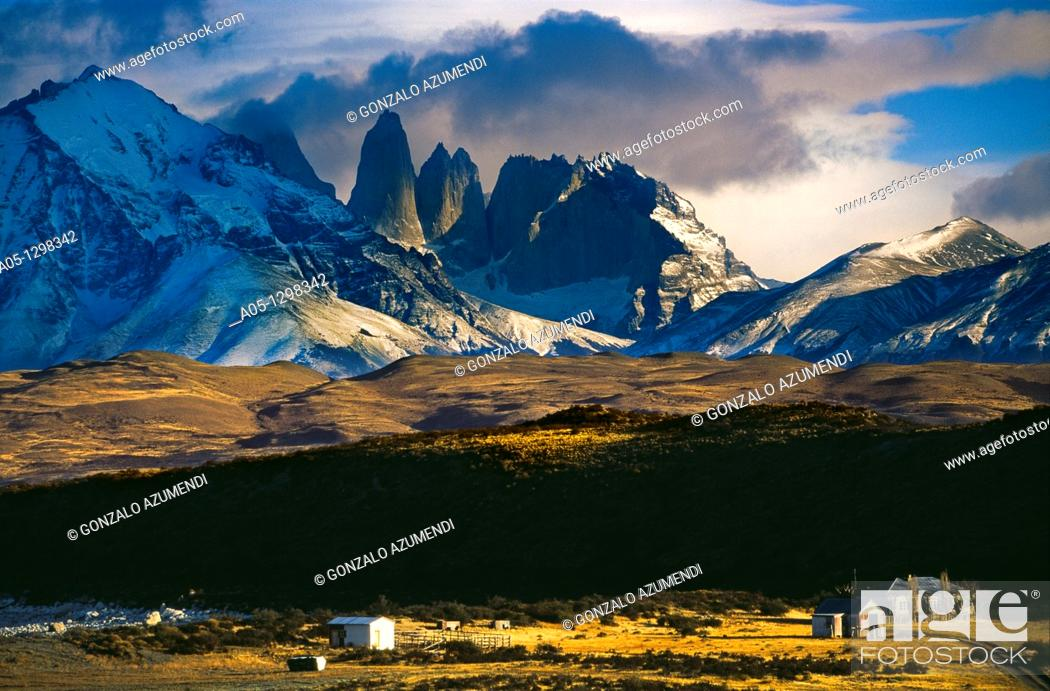 Stock Photo: Torres del Paine and Almirante mountain  Torres del Paine National Park  UNESCO World Biosphere Reserve, Patagonia, Chile, South America.