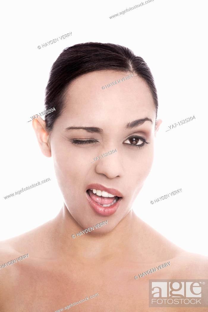Stock Photo: Beautiful young woman's face with clean skin.