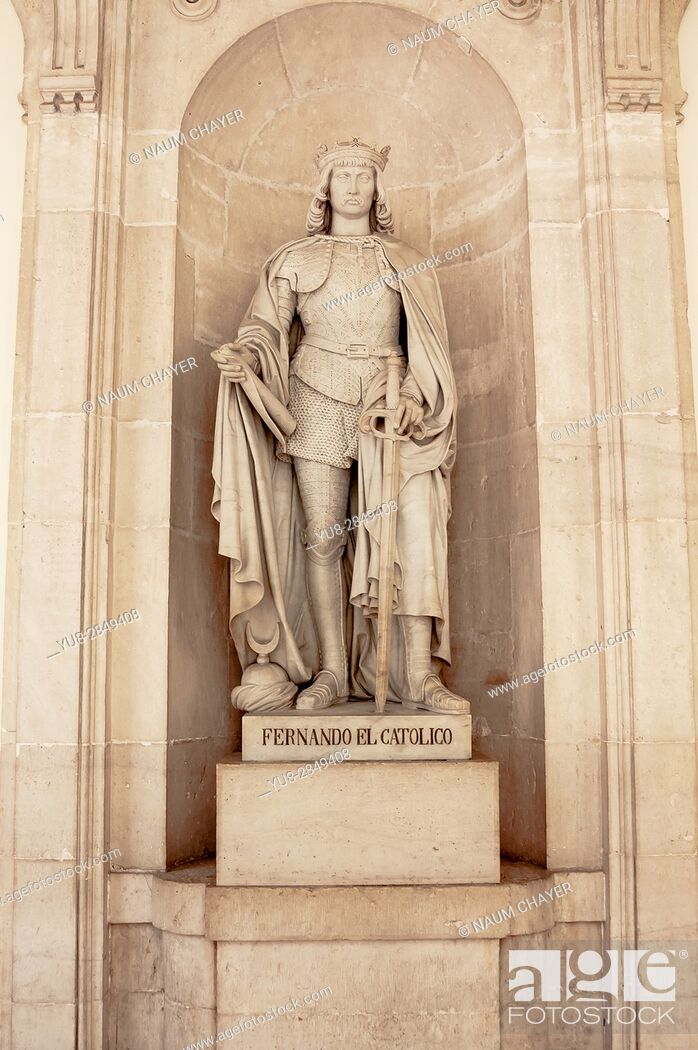 Stock Photo: Statue of Ferdinand II of Aragon, Royal Palace, Madrid, capital, Spain, Europe.