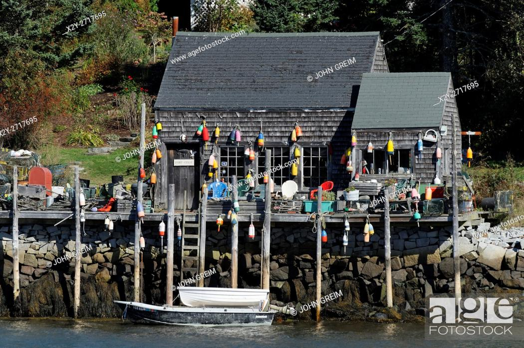 Stock Photo: Fishing shack, Port Clyde, Maine, USA.