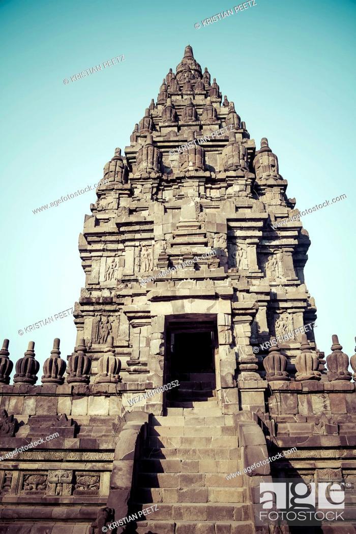 Stock Photo: Indonesia, Java, Buildings in the temple Prambanan near Yogyakarta.