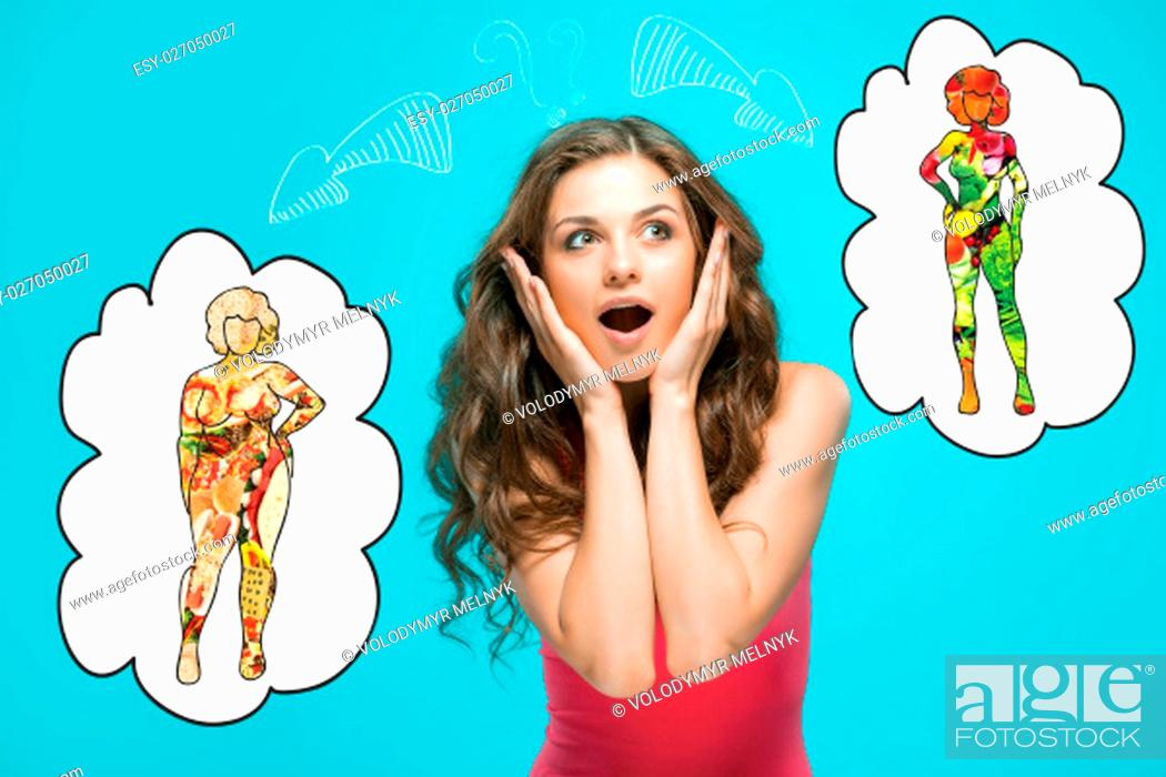 Stock Photo: The collage about health, diet and food concept - woman with choice of different female figures.