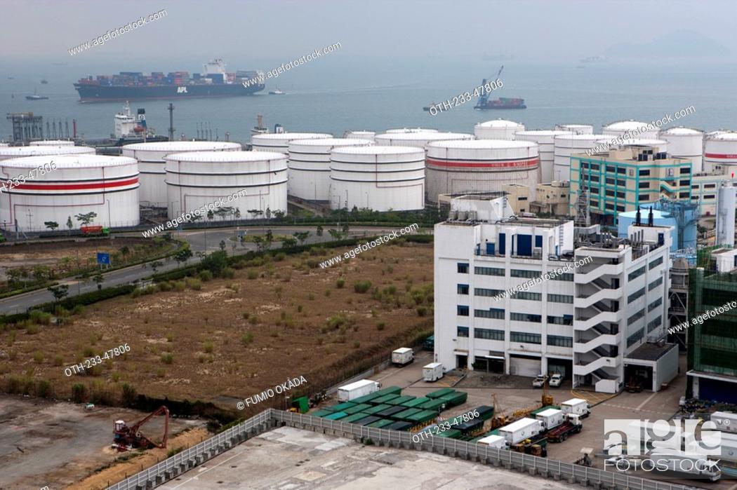 Stock Photo: Oil depot at Nam Wan Kok, Tsing Yi, Hong Kong.