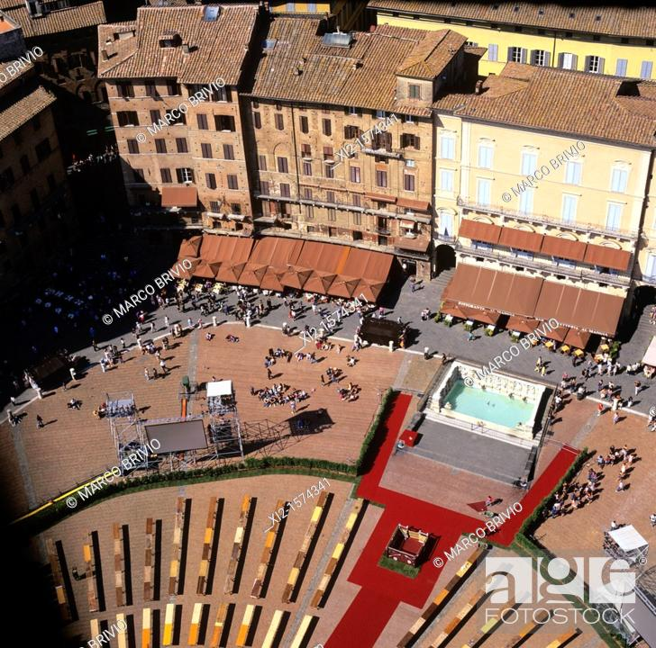 Stock Photo: Aerial view of Piazza del Campo, Siena, Tuscany, Italy.