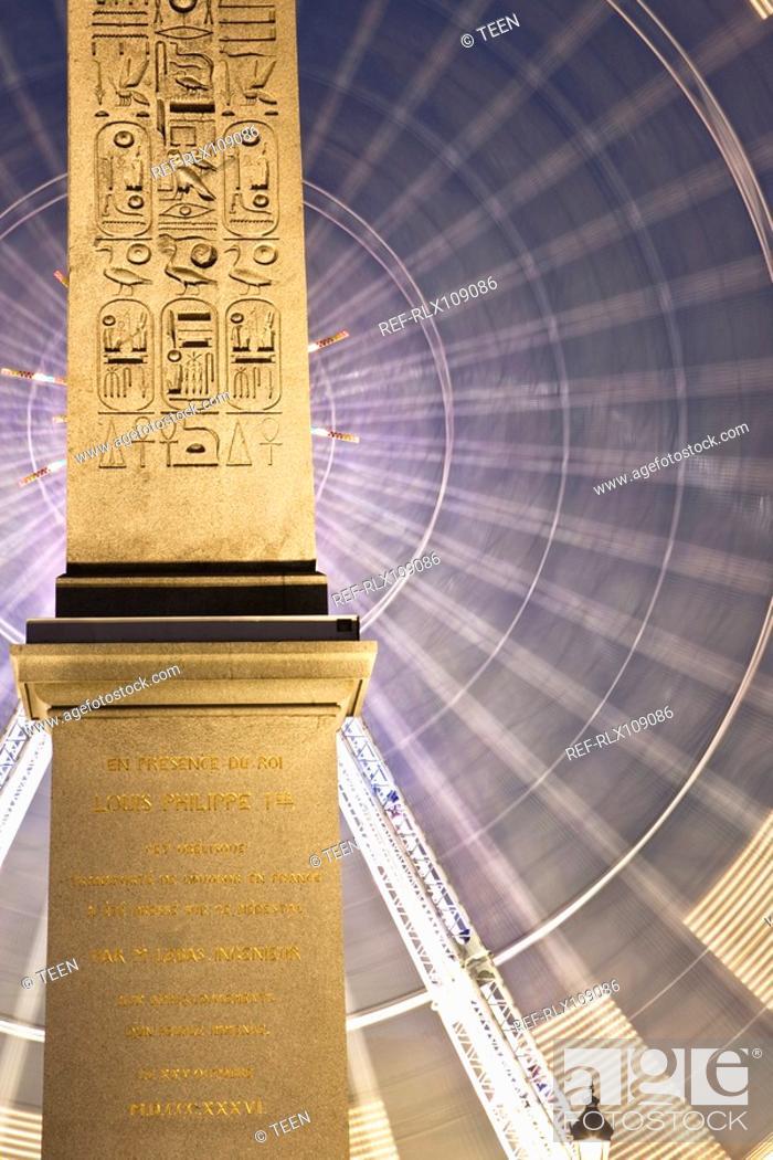 Stock Photo: Obelisk and Ferris Wheel Place de la Concorde, Paris, France.