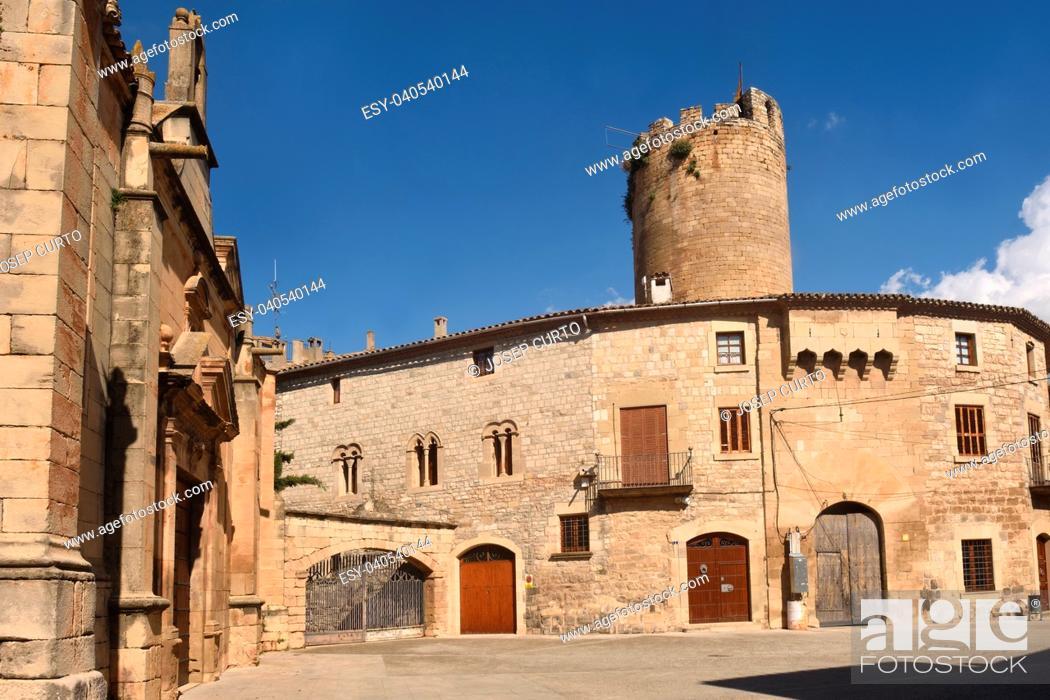 Stock Photo: Santa Maria church and Castle, Verdu, Urgell, LLeida province, Catalonia, Spain.