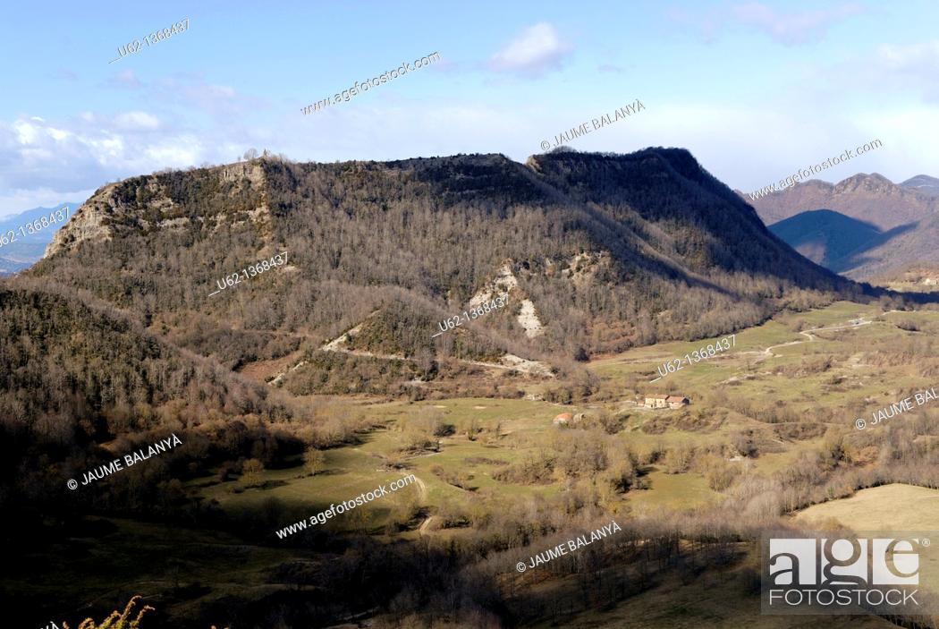Stock Photo: Serra de Cabrera seen from Coll de Siols, Osona, Barcelona province, Catalonia, Spain.