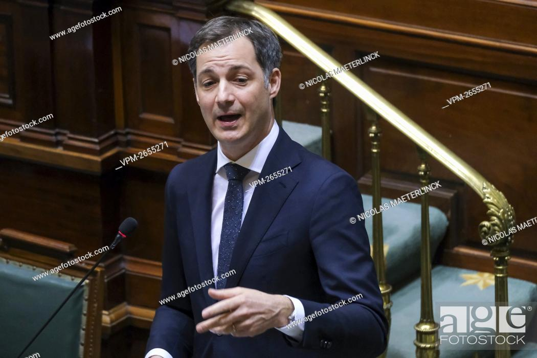 Imagen: Prime Minister Alexander De Croo pictured during a plenary session of the chamber at the federal parliament in Brussels, Thursday 04 March 2021.