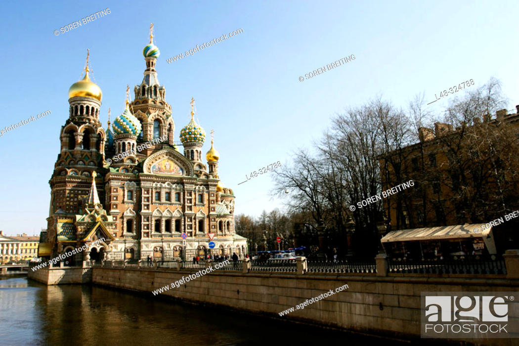 Stock Photo: The Resurrection Church of Jesus Christ, Saint-Petersburg, (St. Petersburg) Russia. This Russian style church is also called 'The Spilled-Blood Church' and.
