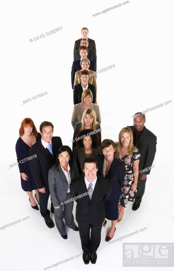 Stock Photo: Group of Businesspeople in arrow formation.
