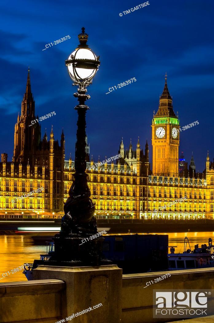 Stock Photo: big ben; westminster; houses of parliamen;t night; london; england ;uk;.