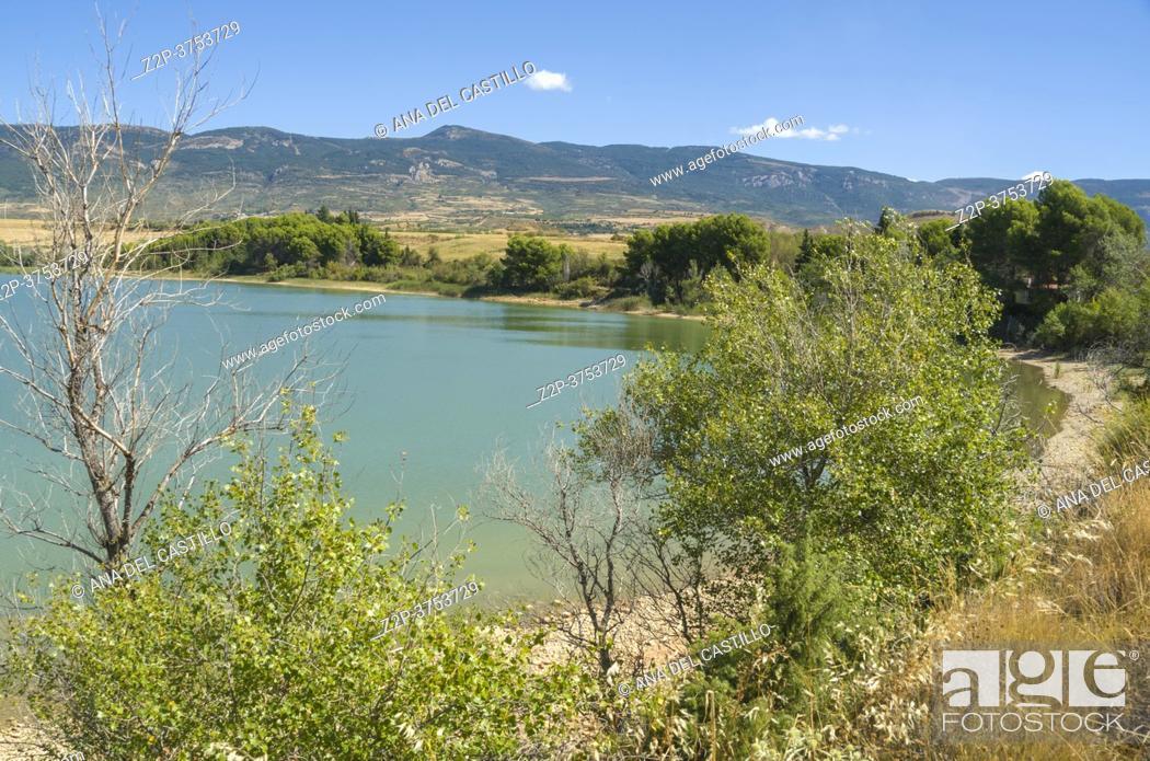Stock Photo: Dam of Las Navas way from Ayerbe to Loarre in Huesca Aragon Spain.