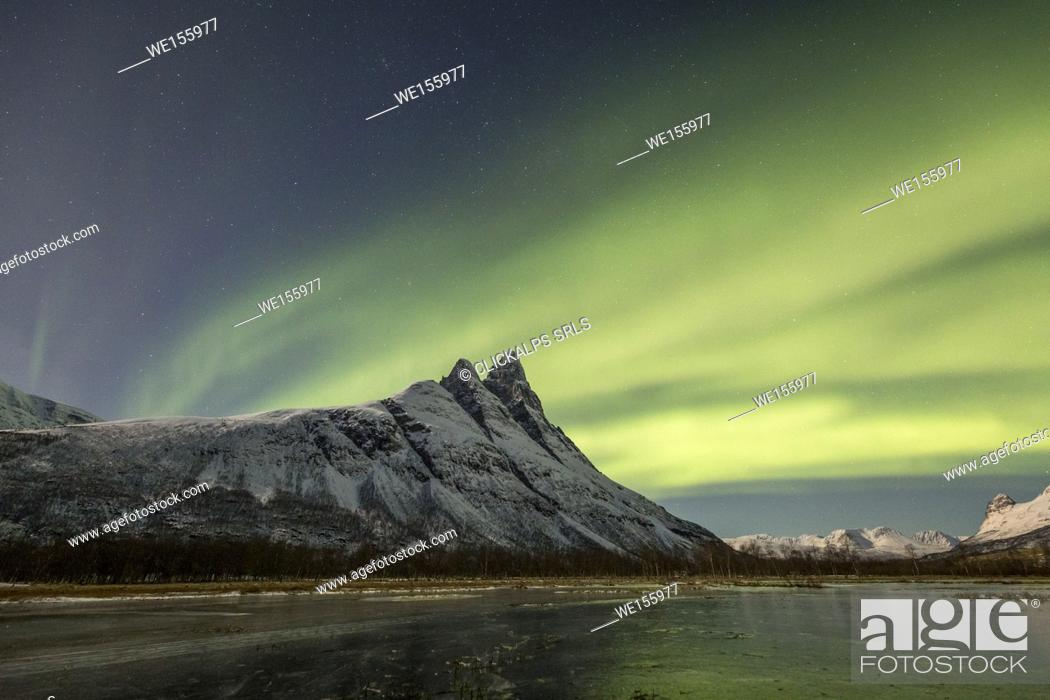 Stock Photo: Northern lights above mount Otertind, Storfjord, Troms, Norway, Europe.