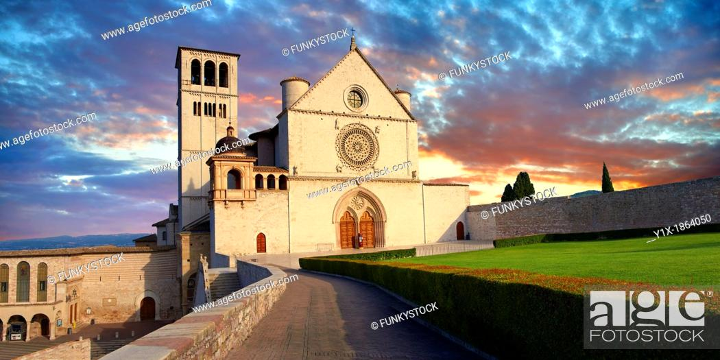Photo de stock: The upper facade of the Papal Basilica of St Francis of Assisi,  Basilica Papale di San Francesco  Assisi, Italy.