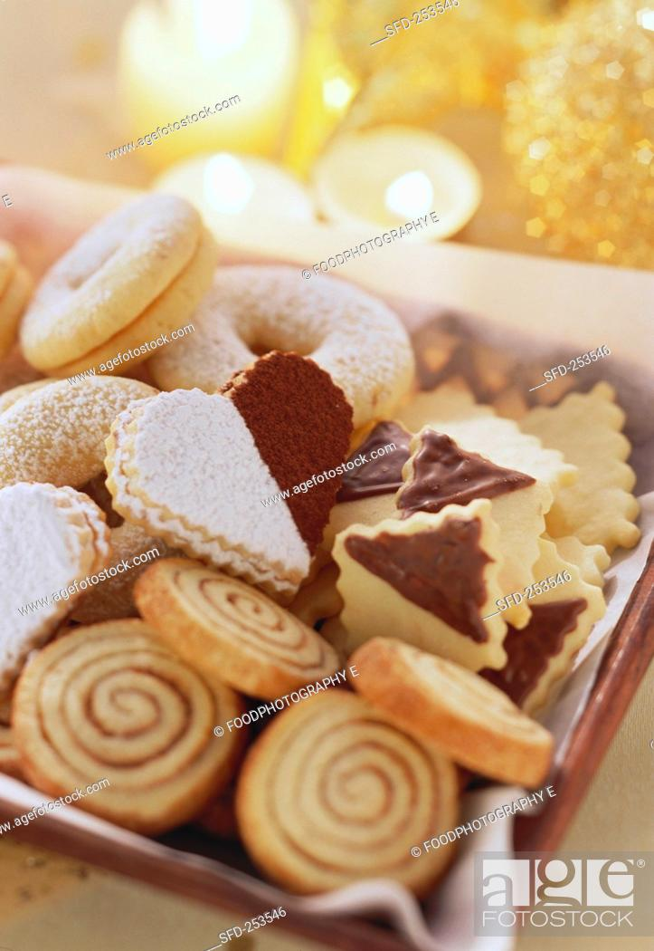 Christmas Biscuits Cinnamon Snails Hearts And Rings Stock Photo