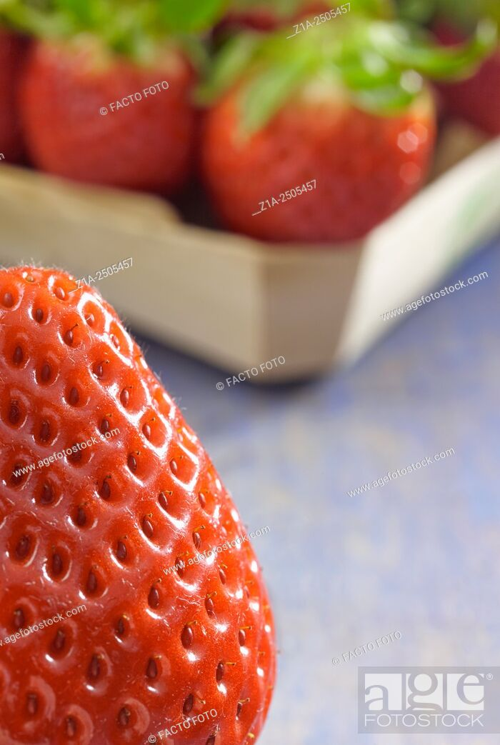 Imagen: Close-up of strawberry with tray of strawberries on the background.