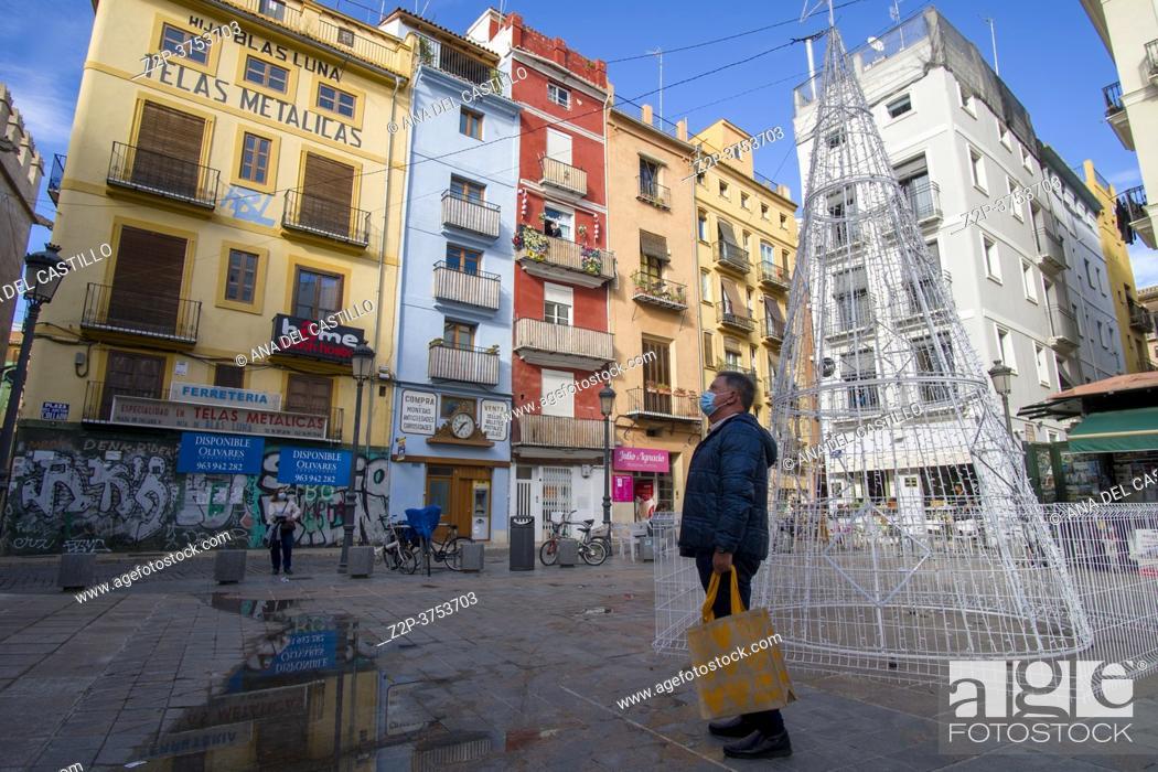 Stock Photo: Valencia Spain on December 11, 2020 old town cityscape in Collado square.
