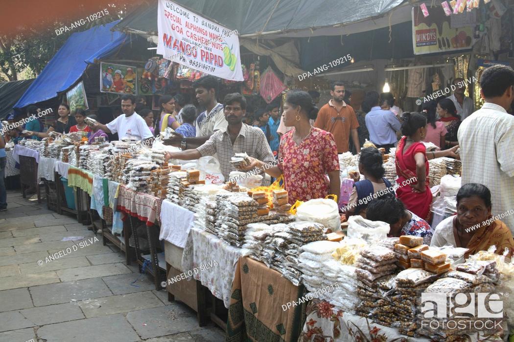 Stock Photo: Various stalls outside Mount Mary Church ; Mount Mary Festival ; Bandra Fair ; Bombay  Mumbai ; Maharashtra ; India NO MR;NO PR.