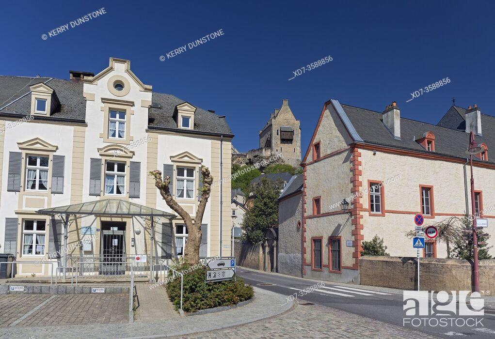 Stock Photo: Europe, Luxembourg, Larochette, Rue de Mersch from Chemin J-A Zinnen with Larochette Castle above the Village.