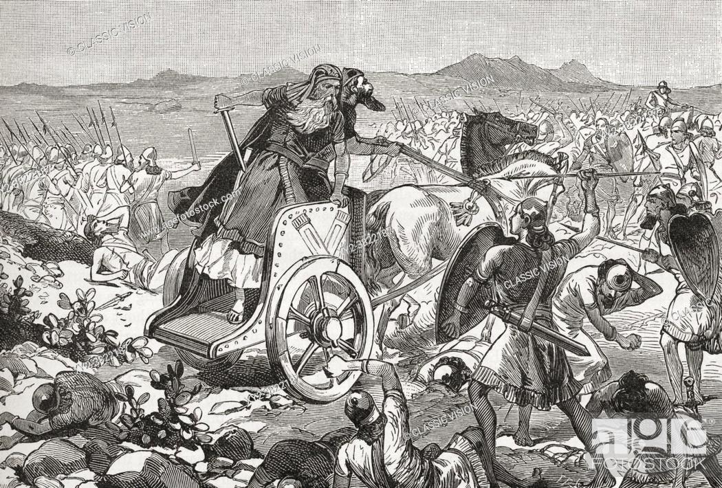 Stock Photo: The defeat of Adonizedek during the Israelite invasion of Canaan. Adonizedek, king of Jerusalem. From Cassell's Universal History, published 1888.