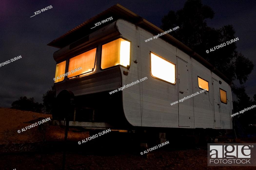Stock Photo: Old mobile home at night, Frankland, Western Australia, Australia.