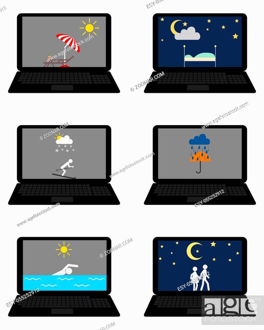 Stock Photo: Verschiedene Wettersymbole und Freizeitaktivitäten auf Laptop - Various weathers symbols and leisure activities on laptop.