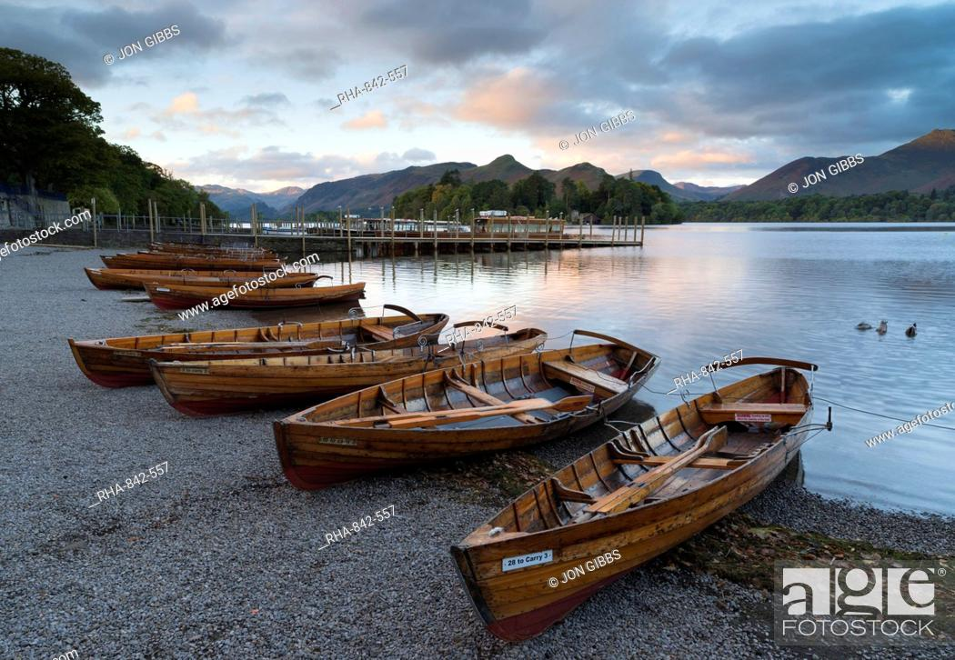 Stock Photo: Pleasure boats on the shore at Derwentwater, Lake District National Park, Cumbria, England, United Kingdom, Europe.