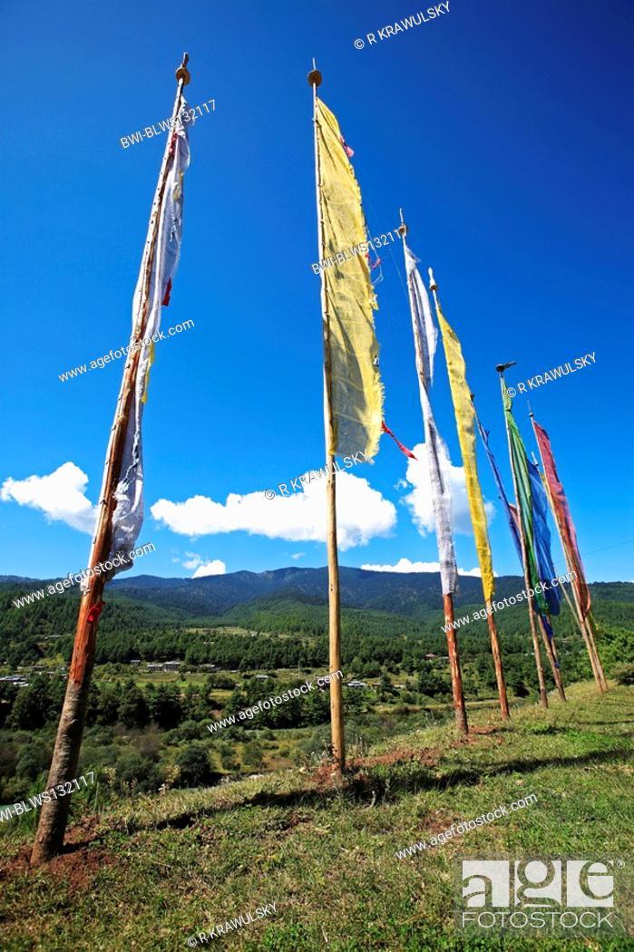 prayer flags, Bhutan, Jakar, Byakar, Stock Photo, Picture