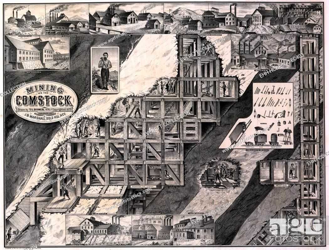 Stock Photo: Mining on the Comstock, cutaway of hillside showing tunnels, supports, shafts and miners, as well as exterior views of several mining companies working the.