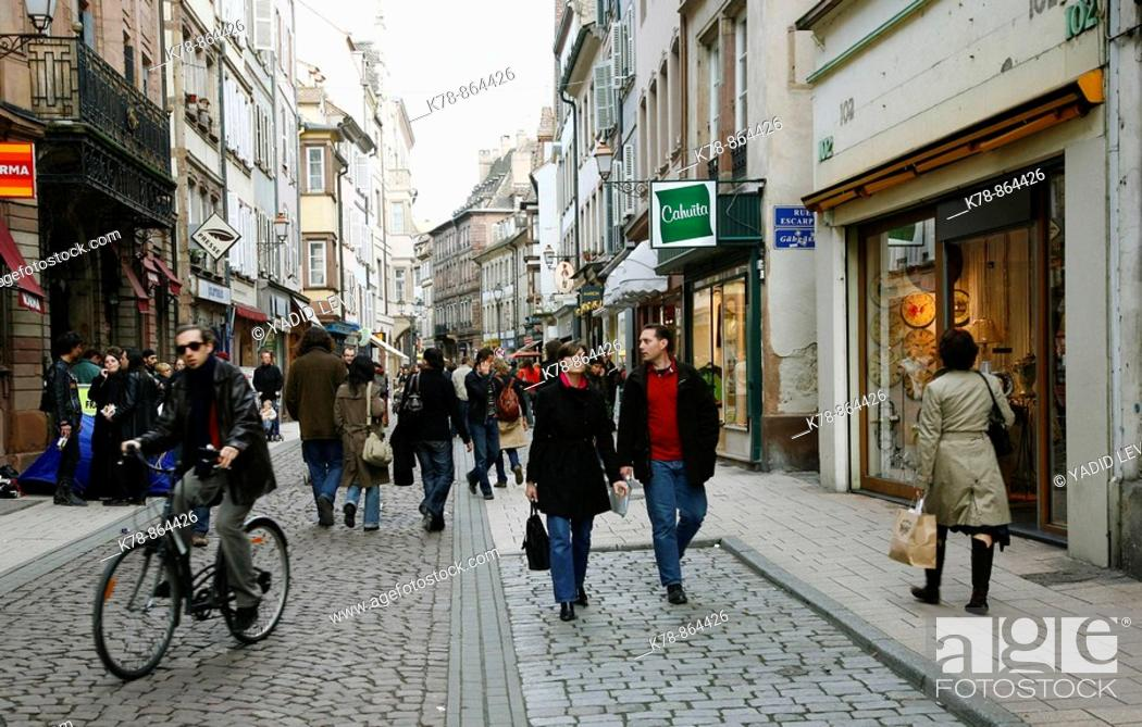 Stock Photo: Sep 2008 - People walking on Grand Rue pedestrian street, Strasbourg, Alsace, France.