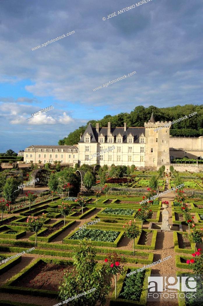Stock Photo: Villandry castle and gardens. Château de Villandry. Indre-et-Loire.Touraine. Loire Valley. France.