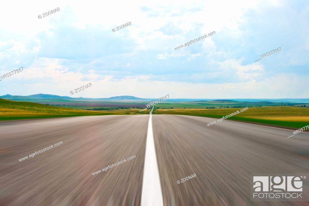 Stock Photo: Blur asphalt road to summer day quickly drive.