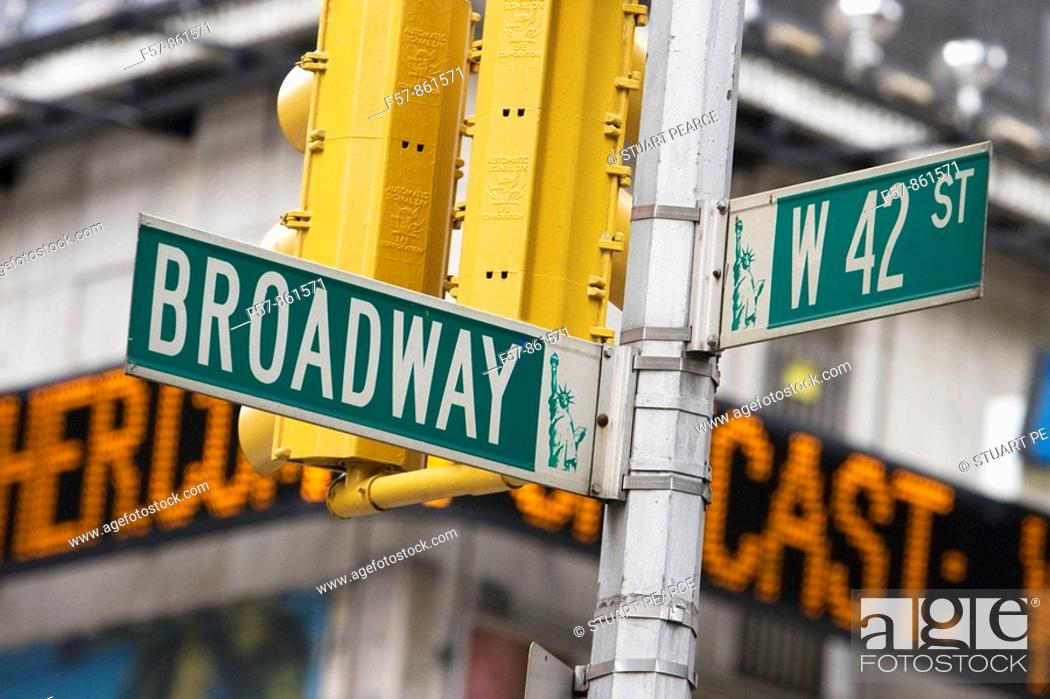 Stock Photo: Broadway street sign, New York City, USA.