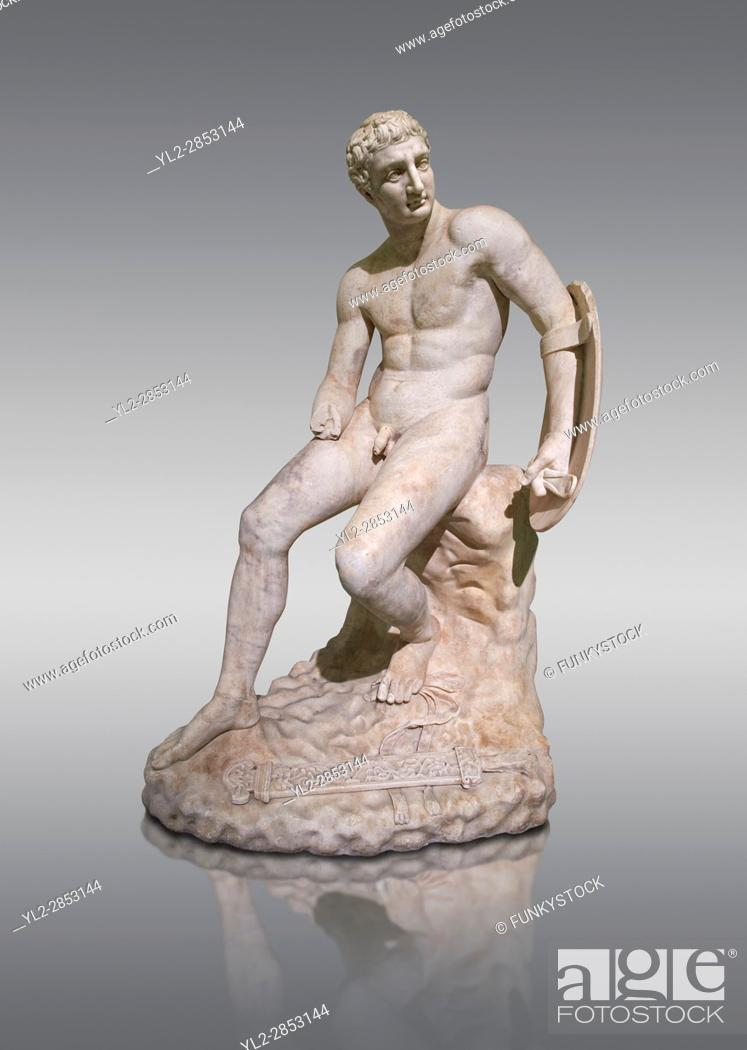 Stock Photo: 1st century AD Roman marble sculpture of a seated male, copied from a Hellanistic Greek original, inv 6323, Farnese Collection, Museum of Archaeology, Italy.