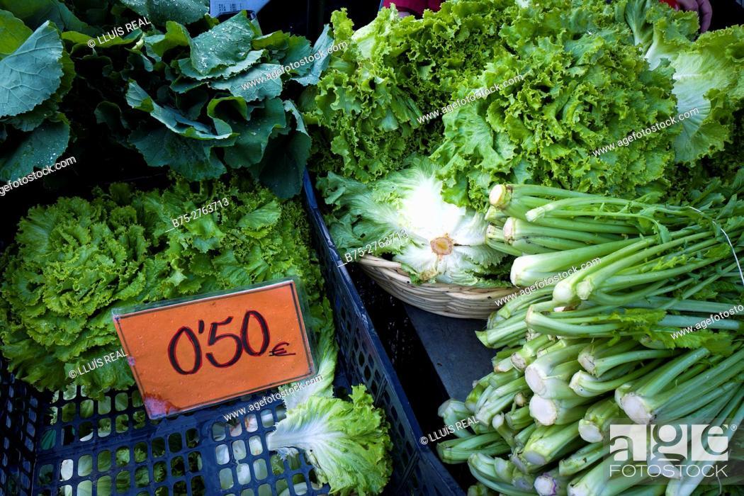 Stock Photo: Green vegetables in market. Padrón, Province of La Coruña, Galicia, Spain.