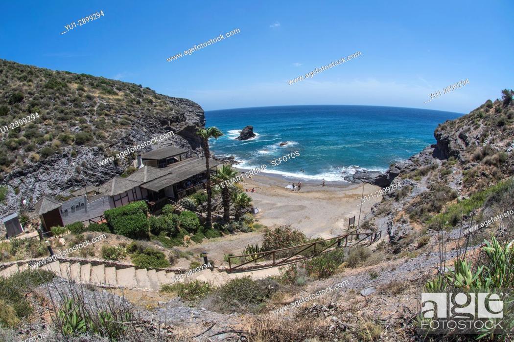 Stock Photo: Fisheye view over La Cala Restaurant and Cala del Barco bay at La Manga Club Resort in Murcia Spain.