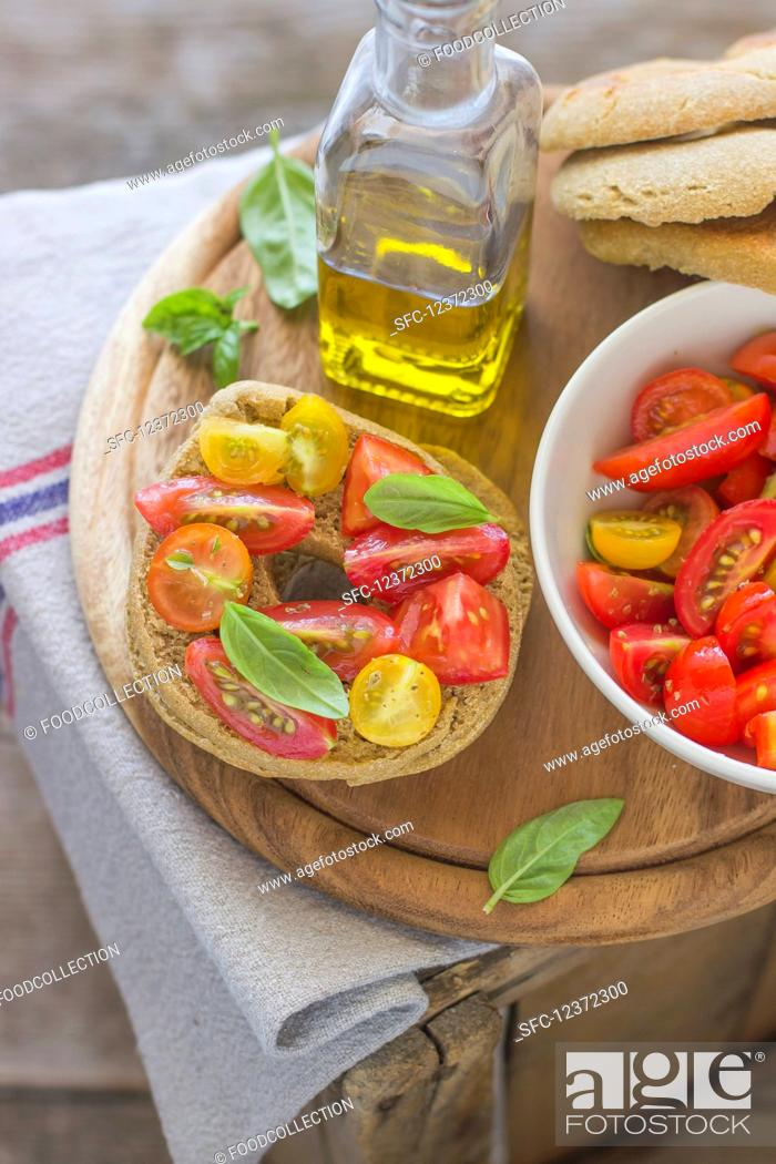 Stock Photo: Friselle (a typical italian recipe).