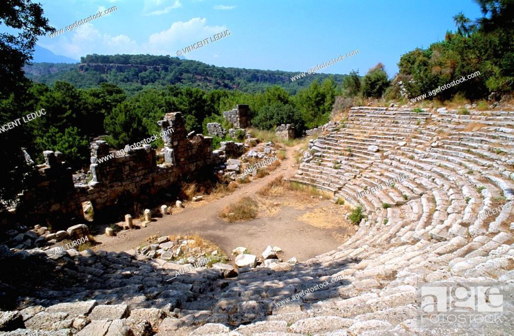 Stock Photo: Turkey - Mediterranean Coast - Antalya Region - Phaselis Old Site - West Coast - Kemer.